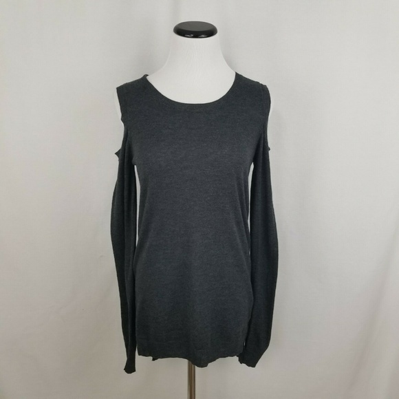 Terre Jacobs Sweaters - Feel The Piece Gray Cold Shoulder LS Sweater